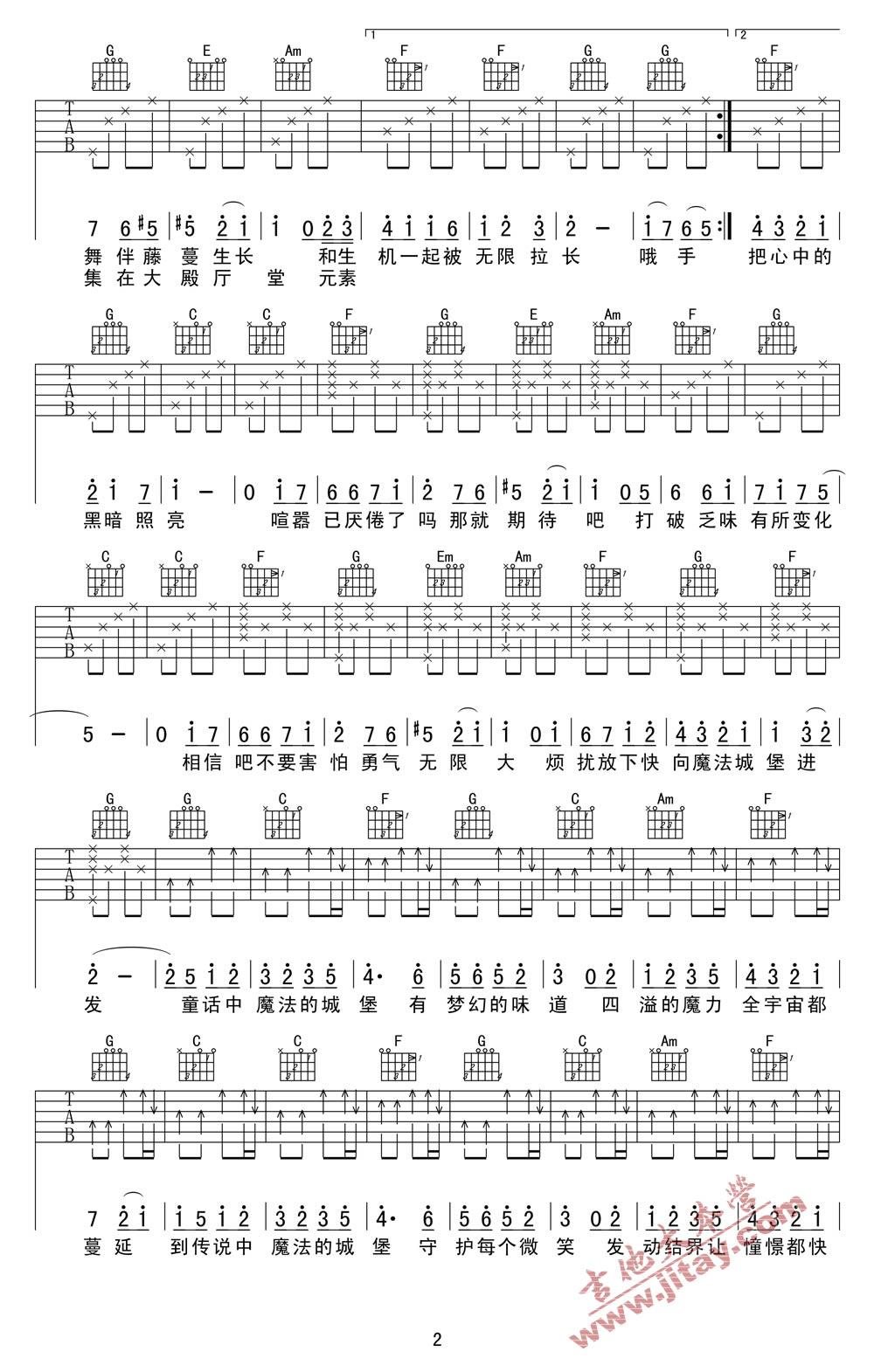 王俊凯的qq号_魔法城堡吉他谱-TFBOYS(王源/王俊凯/易烊千玺)吉他谱 -彼岸吉他 ...