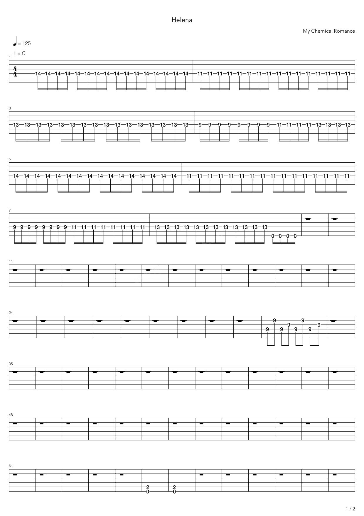 jack johnson吉他谱_Helena吉他谱 My Chemical Romance-彼岸吉他 - 一站式吉他爱好者服务平台